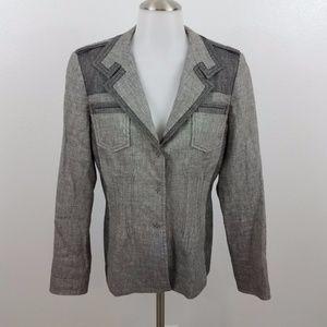 Elie Tahari jacket blazer 6 gray linen work career